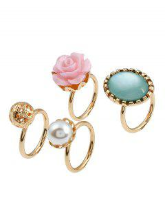 4 Pieces Rose Faux Gem - Or