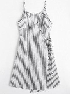 Cami Striped Wrap Dress - Gray M