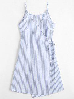 Cami Striped Wrap Dress - Blue L