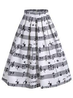 High Waist Music Notes Midi Skirt - White 2xl