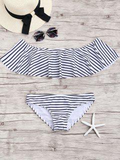 Streifen Rüschen Aus Dem Schulter Bikini Set - Weiß L