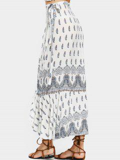 Printed Asymmetrical Wrap Maxi Skirt - White