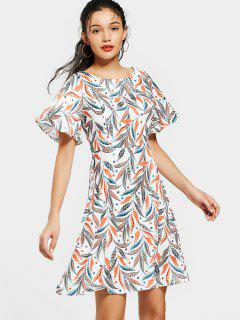 Flouncy Sleeve Leaves Print Mini Dress - M