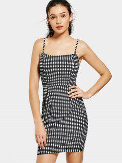 Back Zip Checked Bodycon Mini Dress - Checked S