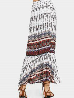 Printed Beach Wrap Maxi Skirt - White