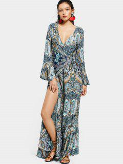 Printed Flare Sleeve Wrap Maxi Dress