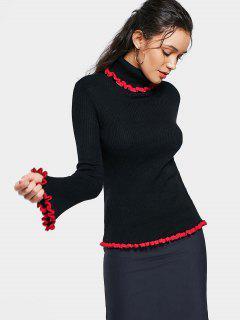 Ruffles Contrasting Turtleneck Sweater - Black S