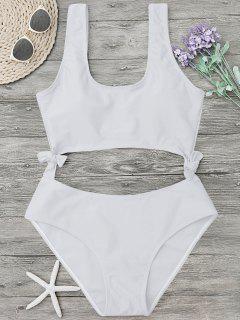 High Leg Cut Out Bowknot Swimwear - White S