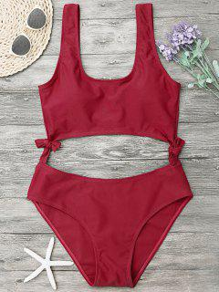 High Leg Cut Out Bowknot Swimwear - Red S
