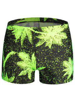 Leaf  Print Swim Trunks - Neon Green