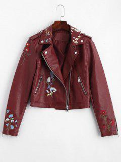 Floral Patched Zippered Faux Leather Jacket - Wine Red Xl
