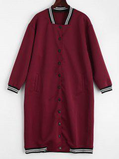 Snap Button Pockets Striped Long Coat - Deep Red