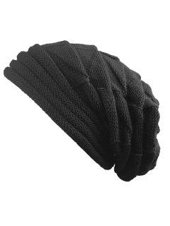 Knitted Triangle Fold Warm Beanie Hat - Black