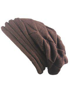 Knitted Triangle Fold Warm Beanie Hat - Coffee