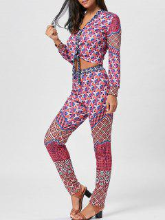 Geometric Print Bowknot Top And Pants - Xl