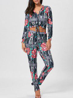 Floral Print Cropped Top And Pencil Pants - Xl