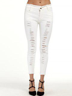 Ripped Cigarette Cropped Pants - White S