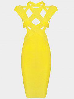 Cut Out Fitted Bandage Dress - Yellow L