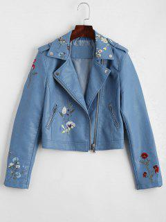 Floral Patched Zippered Faux Leather Jacket - Light Blue Xl