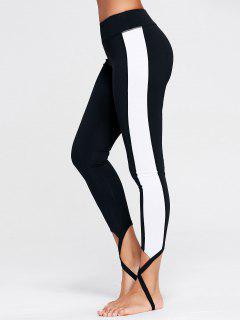 Color Block Sports Stirrup Leggings - Black L