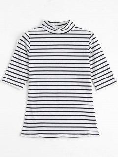 High Neck Striped Tee - Stripe M