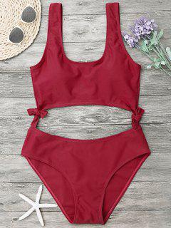 High Leg Cut Out Bowknot Swimwear - Red Xl