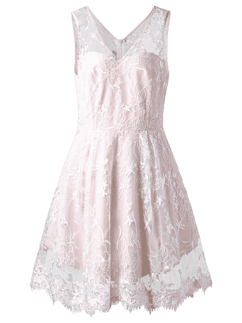 sale Plus Size Sleeveless Embroidery Skater Dress - PINKBEIGE 2XL Mobile