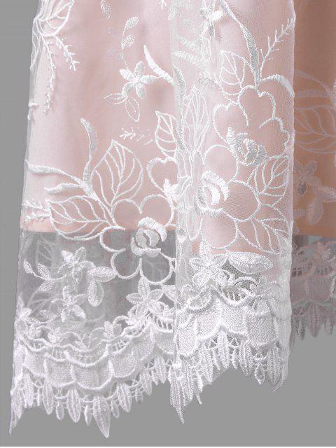 womens Plus Size Sleeveless Embroidery Skater Dress - PINKBEIGE 5XL Mobile