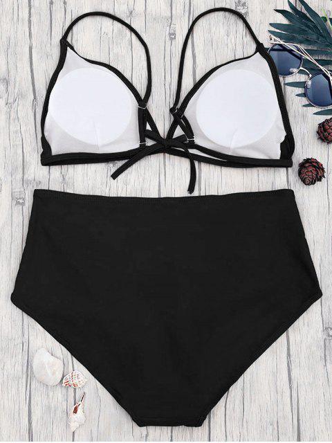 Ensemble Bikini à Taille Haute Grande Taille - Noir 3XL Mobile
