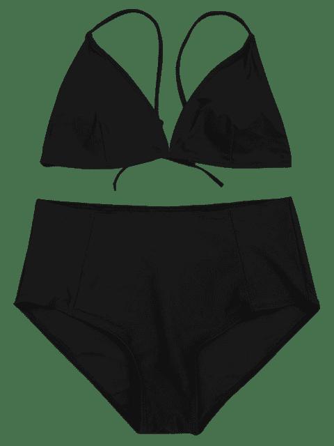 ladies High Waisted Plus Size Bikini Set - BLACK 2XL Mobile