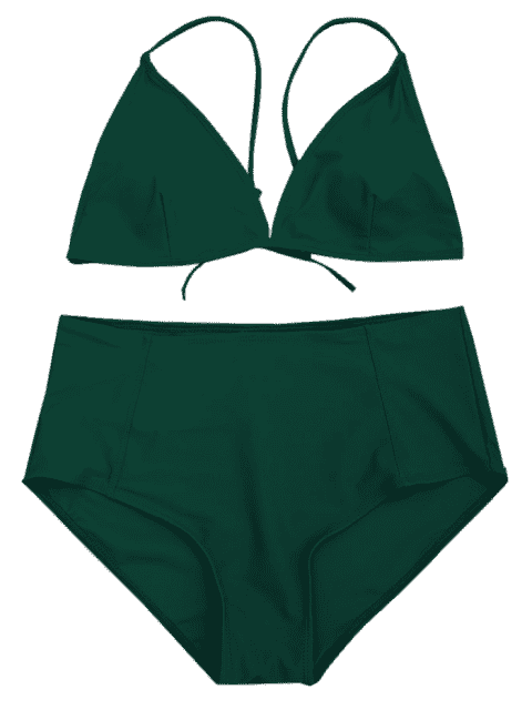 new High Waisted Plus Size Bikini Set - GREEN 3XL Mobile
