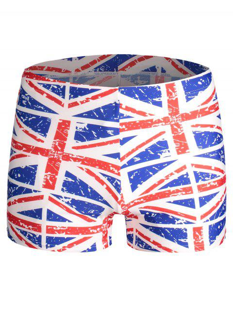 affordable Distressed Flag Print Swim Trunks - COLORMIX ONE SIZE Mobile