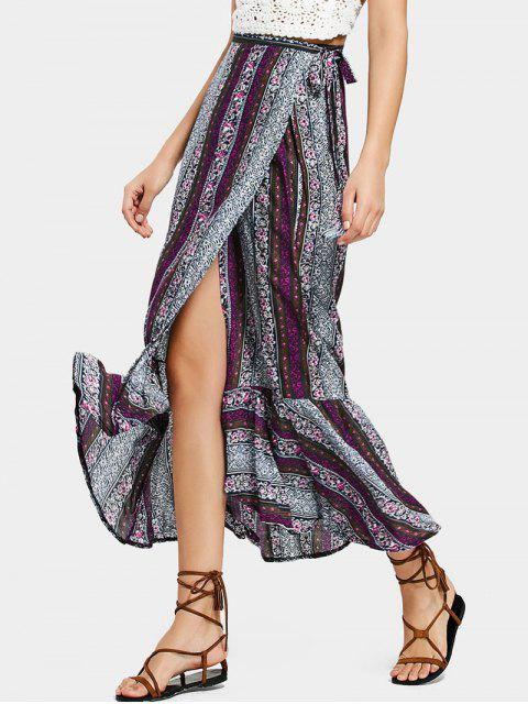 latest Ruffled Hem Wrap Tribal Maxi Skirt - PURPLE ONE SIZE Mobile