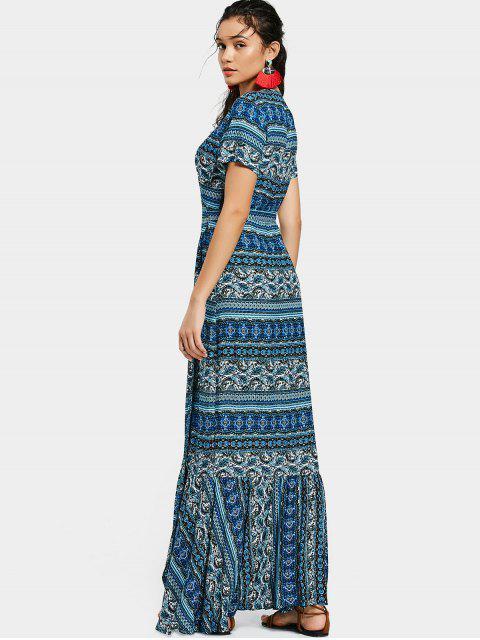 Robe Longue Cache-Coeur Imprimée à Volants - Bleu Taille Unique Mobile