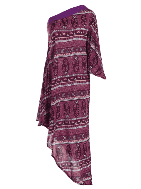 outfit Printed One Shoulder Asymmetrical Midi Dress - PURPLE XL Mobile