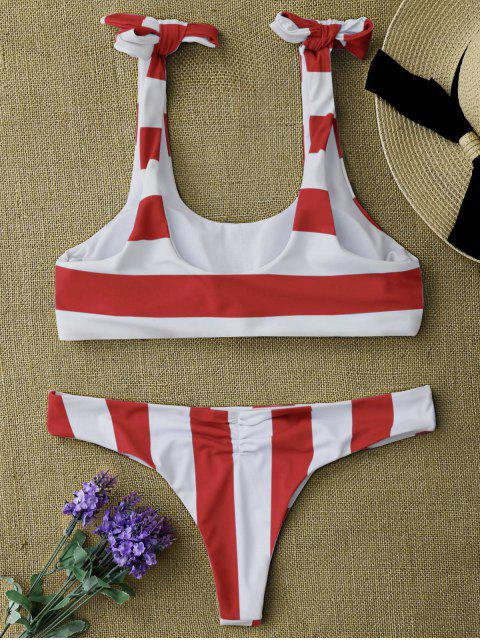best Striped Tie Shoulder Scoop Bikini Set - RED AND WHITE M Mobile