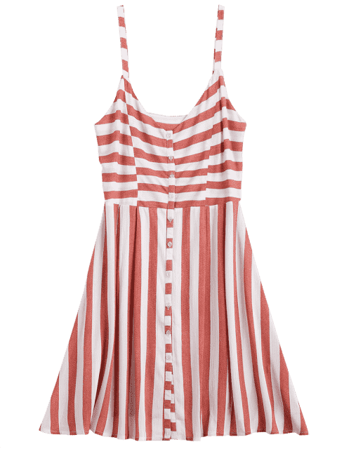 outfits Button Up Stripes Casual Dress - RED AND WHITE S Mobile