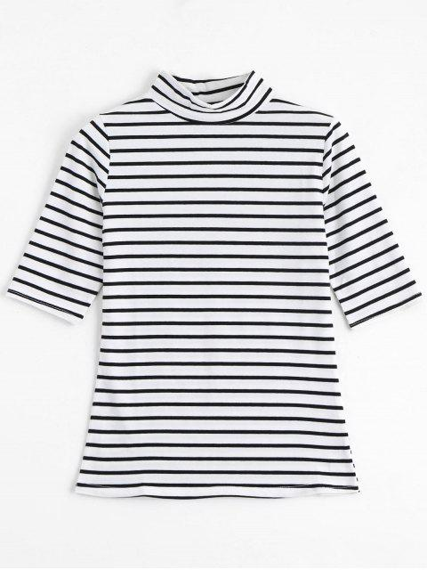 shop High Neck Striped Tee - STRIPE XL Mobile
