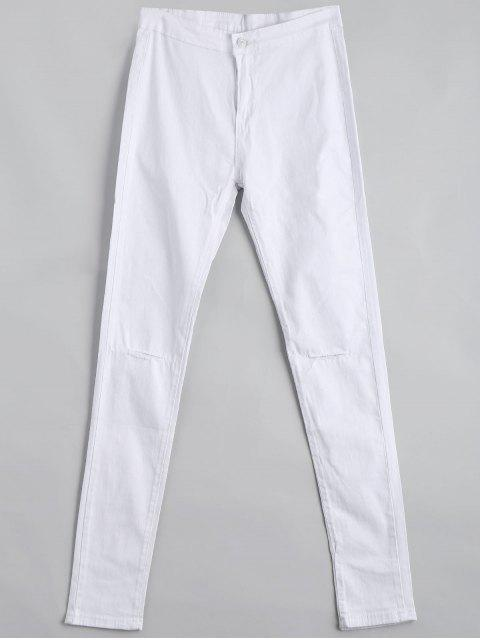 ladies Ripped High Waist Pants - WHITE L Mobile