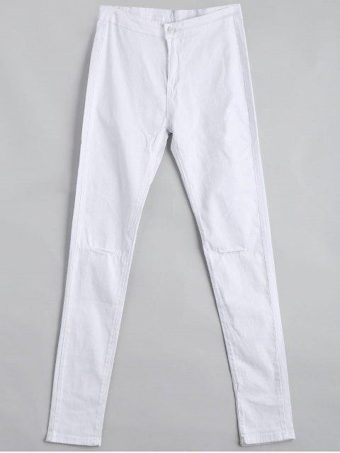 Pantalon Slim Taille Haute Déchiré - Blanc L Mobile