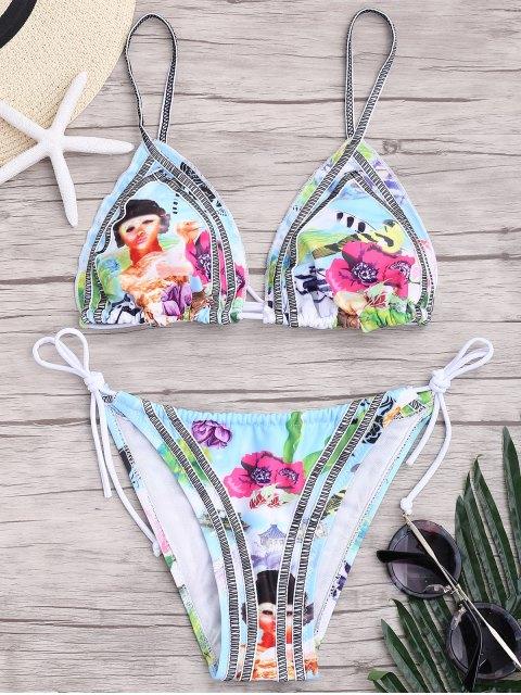 unique Seam Printed String Bikini Set - COLORMIX L Mobile