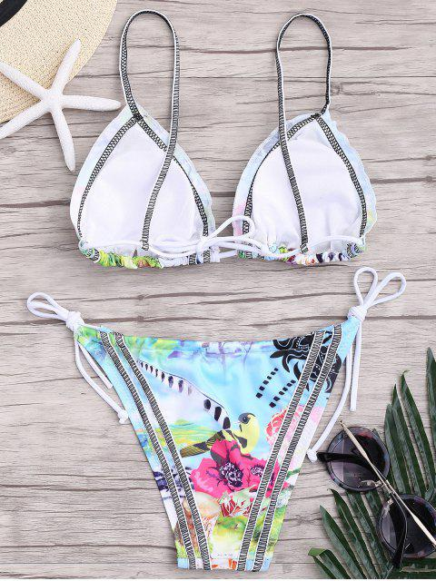 affordable Seam Printed String Bikini Set - COLORMIX S Mobile