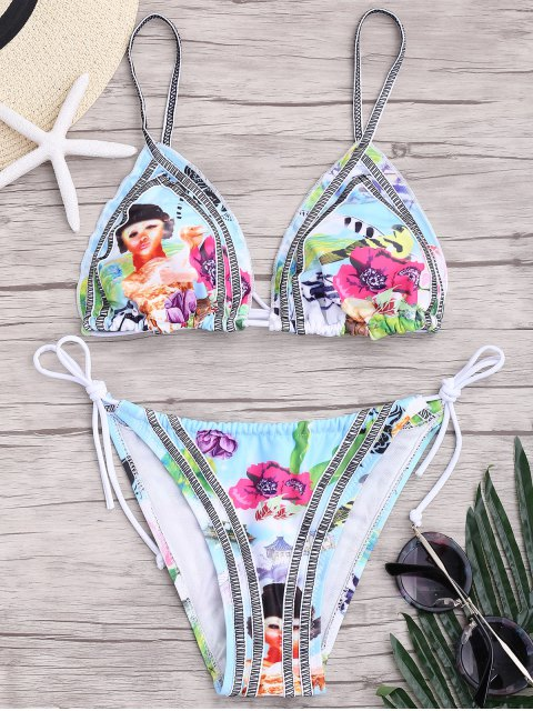 affordable Seam Printed String Bikini Set - COLORMIX S Mobile