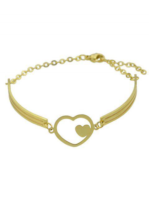 best Double Heart Alloy Bracelet - GOLDEN  Mobile