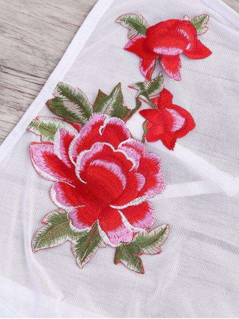 best Flower Applique Mesh Panel Teddy - WHITE S Mobile