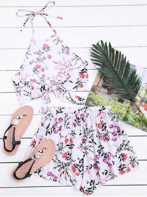 Halter Floral Crop Top avec Shorts - Blanc XL Mobile