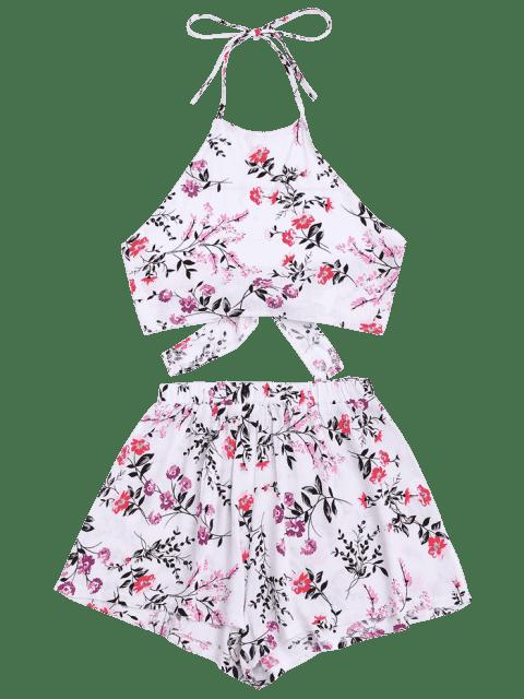 Halter Floral Crop Top avec Shorts - Blanc M Mobile