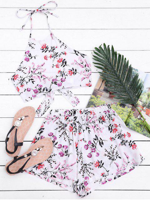 Halter Floral Crop Top avec Shorts - Blanc S Mobile