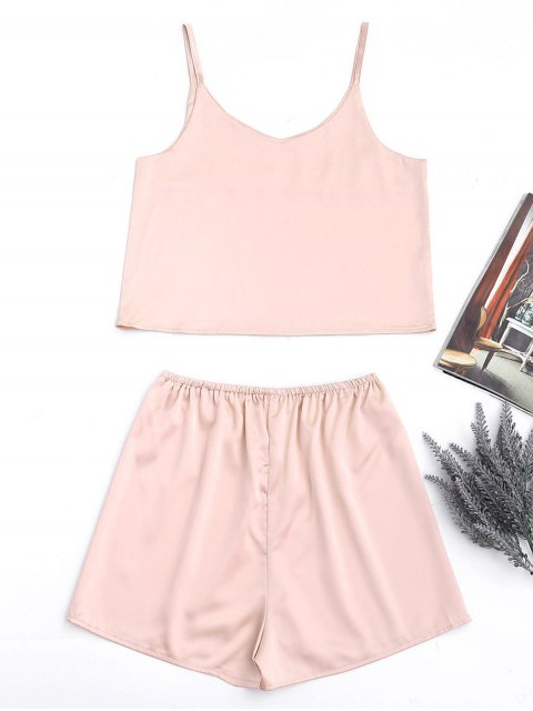 shops Cami Satin Tank Top and High Waisted Casual Shorts - PINKBEIGE S Mobile