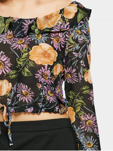 sale Cropped Floral Ruffles Blouse - FLORAL S Mobile